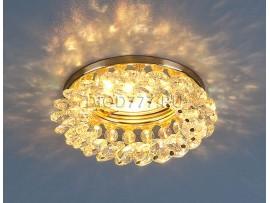Светильник точечный с хрусталем 206 GD/MULTICOLOR (золото/перламутровый)