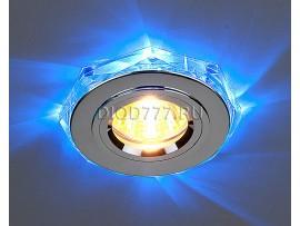 Точечный светильник со светодиодной подсветкой 2020/2 SL/LED/BL (хром / синий)