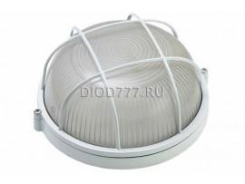 Светильник баня 60 Вт круг/белый/с реш. (LE 01 R-60-003)(20)