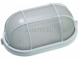 Светильник баня 60 Вт овал/белый/с реш. (LE 01 O-60-003)(20)