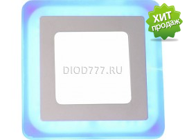 Светильник светодиодный встраиваемый (квадрат, голубое свечение) LE LED 2BCLS 16W 7500/6000K (20)