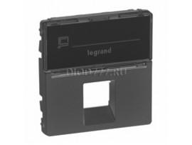 Legrand Valena Allure Лицевая панель для одиночных розеток телефонных/информационных с держателем маркировки Антрацит