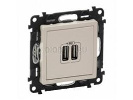Legrand Valena Life Зарядное устройство с двумя USB-разьемами 240В/5В 1500мА С лицевой панелью Слоновая кость