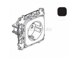 Legrand Valena Allure Силовая розетка 2К+З 16А 250В с защитными шторками Безвинтовые зажимы С лицевой панелью Антрацит