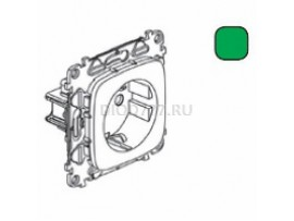 Legrand Valena Allure Силовая розетка 2К+З 16А 250В с защитными шторками Безвинтовые зажимы С лицевой панелью Зеленая