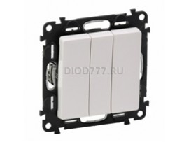 Legrand Valena Life Выключатель трехклавишный 10АХ 250В с лицевой панелью Винтовые зажимы Белый