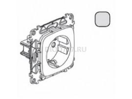 Legrand Valena Allure Силовая розетка 2К+З 16А 250В с защитными шторками Безвинтовые зажимы С лицевой панелью Алюминий