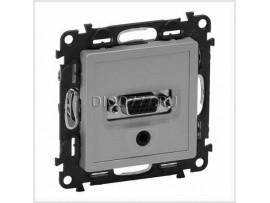 Legrand Valena Life Розетка для аудио/видео устройств с разьемами HD15/гнездо Jack 3, 5мм С лицевой панелью Алюминий