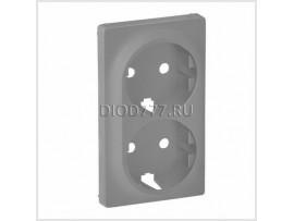 Legrand Valena Life Лицевая панель для двойной силовой розетки 2х2К+З Алюминий