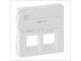 Legrand Valena Life Лицевая панель для двойных розеток телефонных/информационных с держателем маркировки Белая