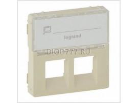 Legrand Valena Life Лицевая панель для двойных розеток телефонных/информационных с держателем маркировки Слоновая кость