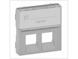 Legrand Valena Life Лицевая панель для двойных розеток телефонных/информационных с держателем маркировки Алюминий