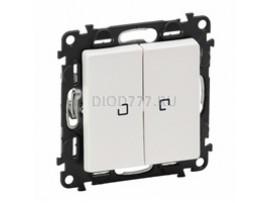 Legrand Valena Life Выключатель двухклавишный 10АХ 250В с подсветкой С лицевой панелью Белый