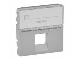 Legrand Valena Allure Лицевая панель для одиночных розеток телефонных/информационных с держателем маркировки Алюминий