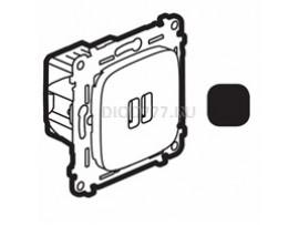 Legrand Valena Allure Зарядное устройство с двумя USB-разьемами 240В/5В 1500мА С лицевой панелью Антрацит