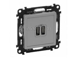 Legrand Valena Life Зарядное устройство с двумя USB-разьемами 240В/5В 1500мА С лицевой панелью Алюминий