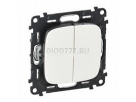 Legrand Valena Allure Выключатель двухклавишный 10А 250В с лицевой панелью Безвинтовые зажимы Белый