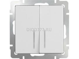Выключатель  двухклавишный проходной с подсветкой (белый)