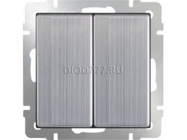 Выключатель двухклавишный проходной (глянцевый никель)