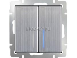Выключатель двухклавишный с подсветкой (глянцевый никель)