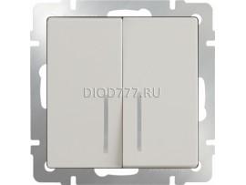 Выключатель двухклавишный проходной c  с подсветкой (слоновая кость)