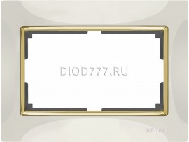 WL03-Frame-01-DBL-white-GD / Рамка для двойной розетки (белый / золото)