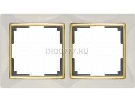 WL03-Frame-02-ivory-GD / Рамка на 2 поста (слоновая кость / золото)